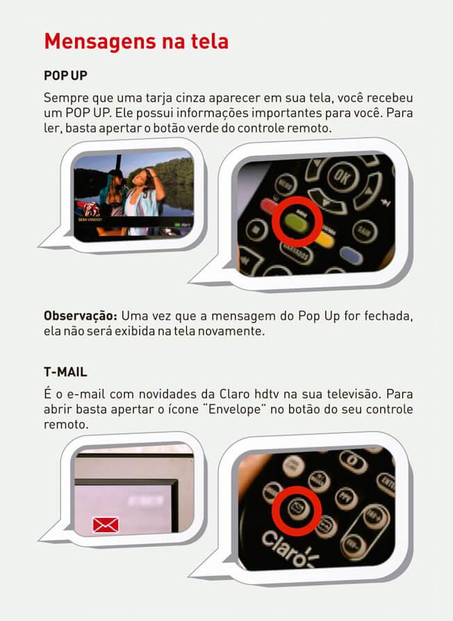 Mensagens na tela